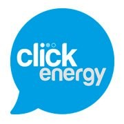 Click Energy logo with white text on blue speech bubble