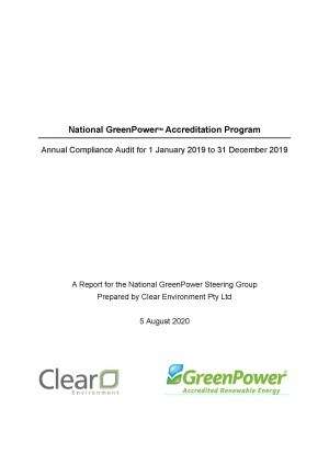 2019 GreenPower Annual Audit Report title page